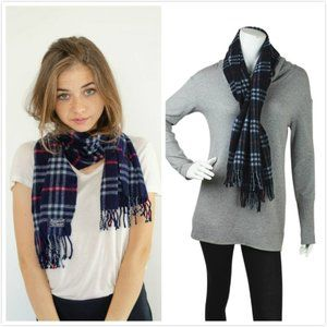 Burberry 100% Lambswool Scarf, Navy